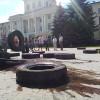 На хмельницькому Майдані з'явилися шини – ФОТО, ВІДЕО