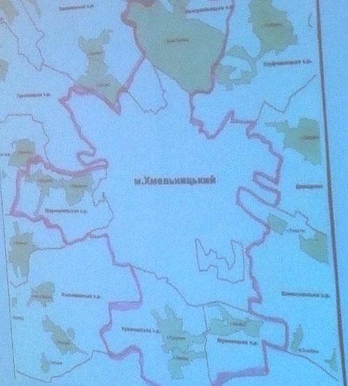 Перспективний план об'єднання територій, який запропонувало м. Хмельницький. Фото НГП
